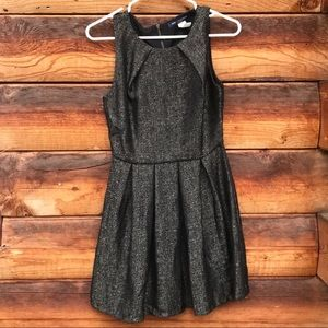 Black/gold holiday dress.